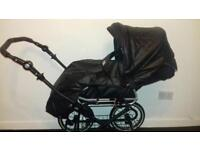 Vib Limited edition Black leather pram with accessories (buggy/car seat/carry cot etc)