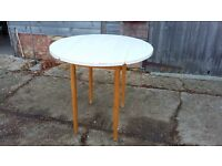 Vintage Circular Drop Leaf Formica Top Kitchen Dining Table