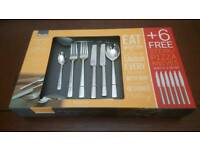 Amefa 18/10 Stainless Steel Dinner Party Cutlery Set 44 + 6 Knives - Moderno