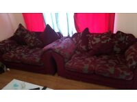 Two seater sofas 2nos. Red colour and in good condition