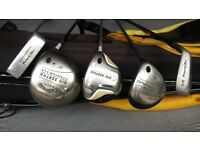 Ladies Golf Clubs, graphite shafts, Callaway woods, Power Bilt irons, putter and bag
