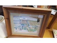 Grocer Store Painting Print Framed in Pine