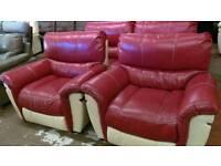 Red 3+1+1 Endurance Leather Sofa