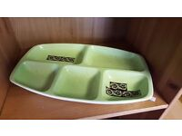 Light Green Segmented Serving Plate in Good Condition