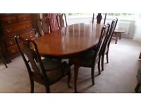 Solid Cherry Wood Dining Table with 6 Matching Chairs and Display Cabinet for sale
