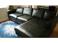Black faux leather L-shape sofa/chaise longue