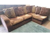 Large Brown chenille fabric corner sofa. Delivery available