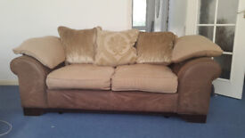 DFS Sofa with footstool and real feather filled cushions