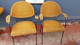 Black-metal Framed Wicker Chairs in Good Condition