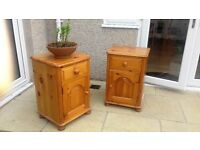a pair of pine bedsibe cabinets for sale