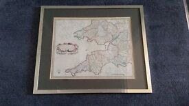 Old Style Brass Framed Map of the West Country