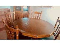 octagonal Dutch dining table with 4 matching chairs. medium oak