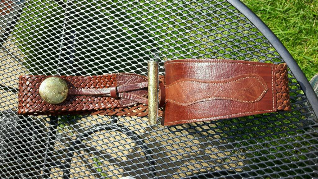 Large Moroccan Tan Belt with brass trims