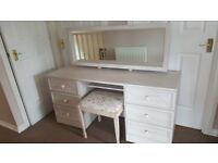 Grey wash Dressing table and bedside cabinet