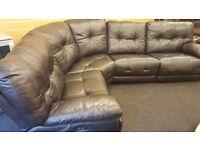 Black leather electric reclining large corner sofa