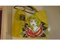 Ed Hardy yellow bag new