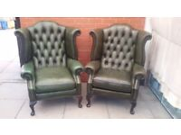 A Pair Of Green Leather Chesterfield Queen Ann Armchairs