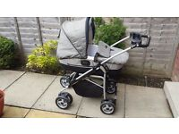 """Mamas and Papas Ultima Pram Complete Combination set in """"Vertical"""" (Black/Grey)"""