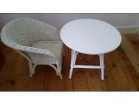Children table and chair in white painted rattan