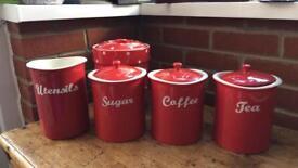 Red kitchen pottery set