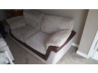 3 seater cream and brown sofa from scs