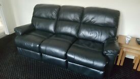 3 and 2 seater black recliners