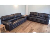 3 seater black Leather sofas for sale