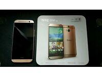 HTC One M8 16gb A - Gold Unlocked + Sony headset