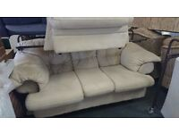 Cream suede suite 3 seat sofa with armchair