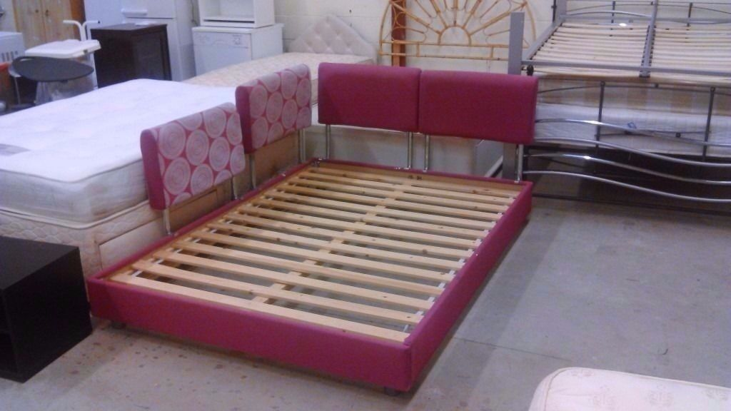 Pink European double / king size bed(140 x 200cm) with grey Ikea mattress