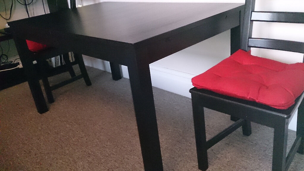 ikea bjursta extendable dining table two ikea kaustby chairs in clifton bristol gumtree. Black Bedroom Furniture Sets. Home Design Ideas