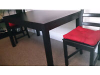 IKEA BJURSTA EXTENDABLE DINING TABLE + TWO IKEA KAUSTBY CHAIRS
