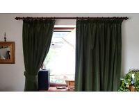 Green Velvet Curtains. Fully lined