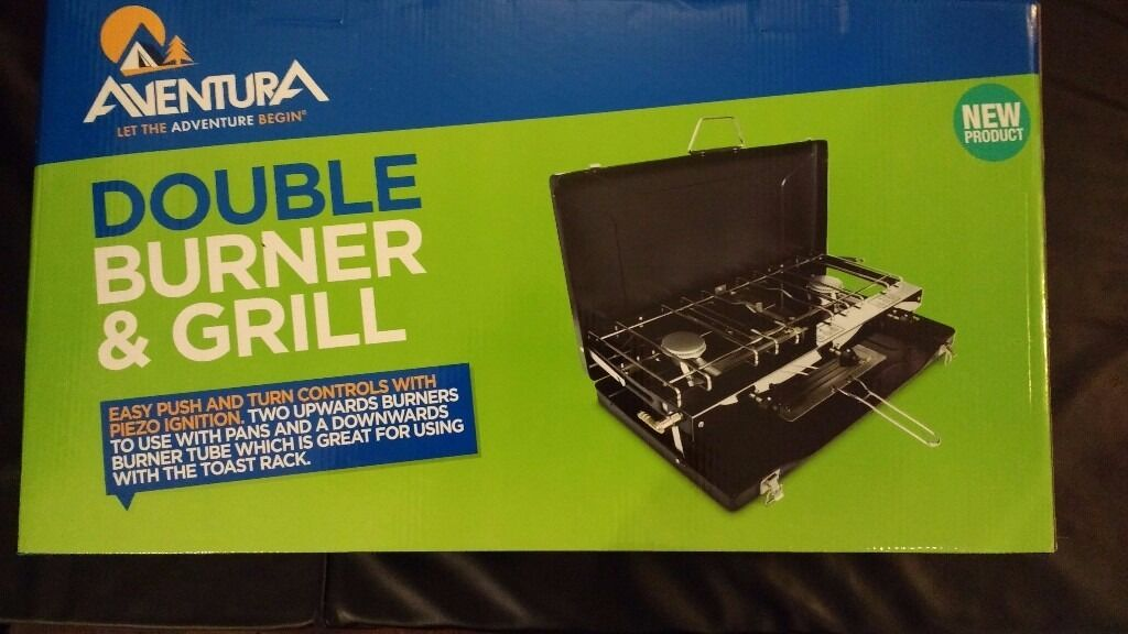 Aventura Camping Double BurnerGrillin Bradford, West YorkshireGumtree - Never used so new condition, still in wrapping, opened box to check contents, was hoping to start using on camping trips but just never got around to it. I bought it for £25 from halfords when it was in the half price sale. Ill take £10 for it....