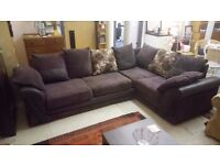 BROWN leather and chord corner suite £195 FREE LOCAL DELIVERY 5 miles of STALYBRIDGE SK15 2PT