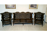 Attractive Chesterfield Queen Anne High Back Wing Suite
