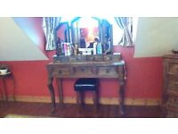 BEAUTIFUL DRESSING TABLE WITH DRAWERS,MIRROR WITH DRAWERS,& STOOL, MUST BE SEEN, VIEW ALL ADS..MORE