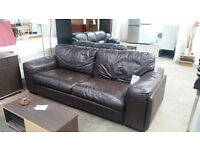 2 X 2 LEATHER BROWN SOFAS