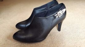 Fabulous black leather high heeled ankle boots from Monsoon - size 39 UK 6