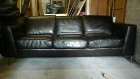 3 Seat Brown Leather Sofa £100 ONO