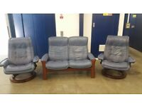 Ekornes Stressless 2 seater reclining settee & 2 chairs leather recliners