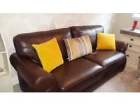 Quality chocolate brown 3 & 2 Reids leather sofa
