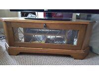 TV cabinet in solid medium oak