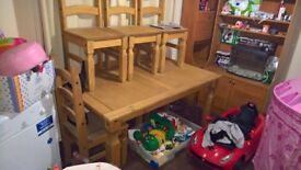pine table and chairs like new