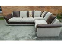 Superb BRAND NEW large brown and beige fabric LARGE corner sofa .good quality.can deliver