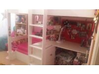 Stompa high bed, white with pink sofa bed underneath, desk and cupboards, good condition 2mx1mx175cm