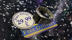 Pure silver ring for men