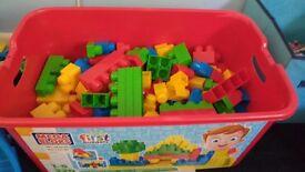 Big box of Mega Bloks building blocks