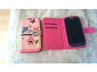 For sale samsung galaxy S3 mobile phone (no back) but spare cover pink cover has bling on front