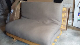 Futon Company Orlando Double Futon in Solid Hardwood with Cover in Fieldmouse. Instructions included